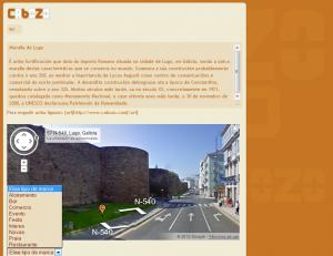 Exemplo de creación de marca e localización dun sitio de interese, neste caso a muralla de Lugo