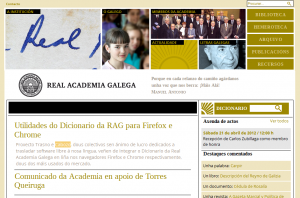 Referencia a extensión na web da Real Academia Galega