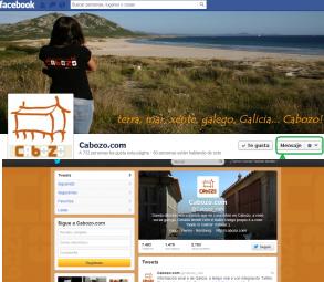 Las cuentas de Cabozo en Facebook y Twitter